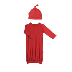 Solid Layette Gown Knot Hat Set Crimson